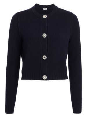 MIU MIU Crystal Button Cashmere Cardigan