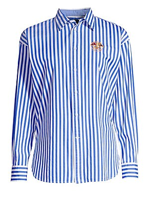 1f3f50d1e1 Polo Ralph Lauren - Ellen Embroidered Striped Long-Sleeve Button-Down Shirt