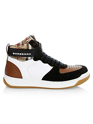 Dennis Vintage Check Leather & Suede High Top Sneakers by Burberry