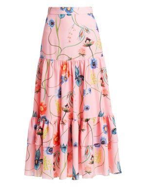 Borgo De Nor Emme Floral Crepe A-Line Maxi Skirt