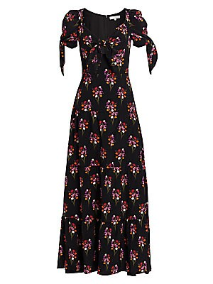 "Image of Delicate florals adorn this elegant tie-sleeve gown. Knotted V-neck Short tie sleeves Concealed back zip Seamed waist Tiered seamed skirt Silk Dry clean Made in UK SIZE & FIT A-line silhouette About 56"" from shoulder to hem Model shown is 5'10"" (177cm) we"