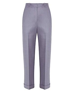 Straight Leg Cuffed Wool Pants by Theory