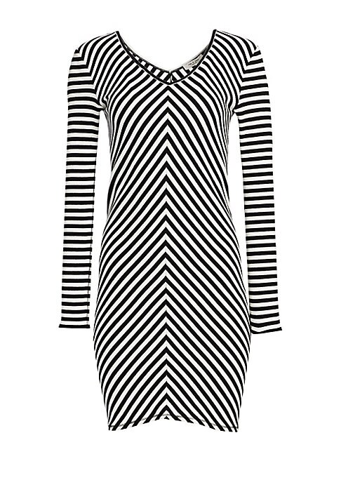 """Image of A ribbed finish enhances this body-con dress patterned with chevron stripes.V-neck. Long sleeves. Pullover style. Ribbed finish. Cotton/spandex. Hand wash. Imported. SIZE & FIT. About 33.5"""" from shoulder to hem. Model shown is 5'10"""" (177cm) wearing a US s"""