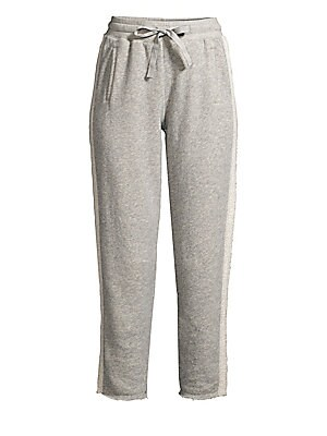 """Image of A cropped leg, raw hems and side stripe detailing lend these joggers plenty of style. Elasticized drawstring waistband Pull-on style Waist welt pockets Raw hems Cotton Machine wash Imported SIZE & FIT Rise, about 12"""" Inseam, about 28"""" Leg opening, about 1"""