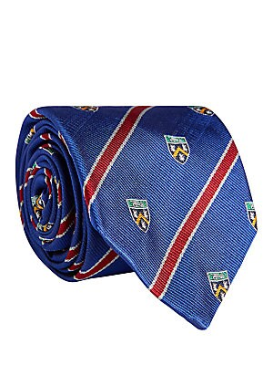 """Image of Chevron embroidered logo tie crafted from rich silk. Silk Dry clean Made in Italy SIZE Width, about 3"""". Men Luxury Coll - Polo Blue Label > Saks Fifth Avenue. Polo Ralph Lauren."""