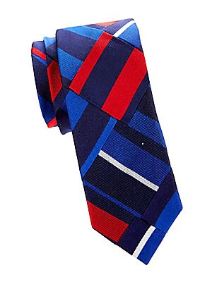 """Image of Colorblocking stripes in a patchwork formation lend a dimensional finish to this tie. Silk Dry clean Made in Italy SIZE Width, about 3"""". Men Luxury Coll - Polo Blue Label > Saks Fifth Avenue. Polo Ralph Lauren. Color: Navy."""