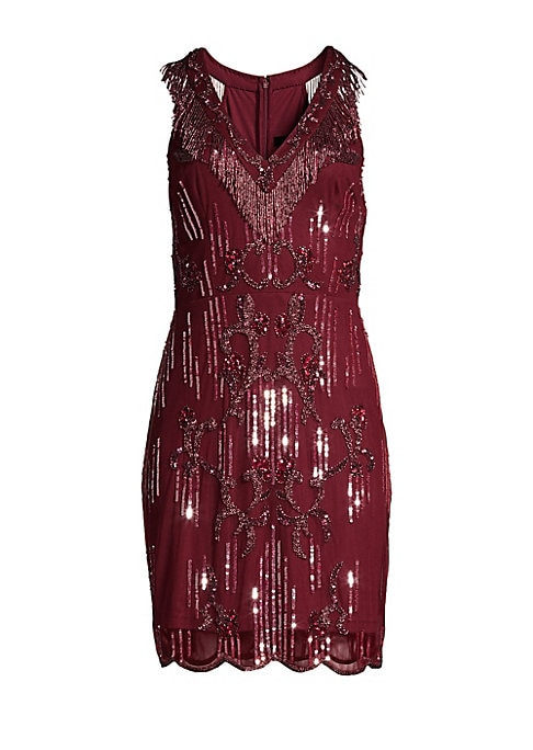 """Image of 1920's-inspired beading adds glam to cocktail minidress.V-neck. Sleeveless. Concealed back zip. Seamed waist. Racerback. Scalloped hem. Polyester. Dry clean. Imported. SIZE & FIT. About 34"""" from shoulder to hem. Model shown is 5'10"""" (177cm) wearing US siz"""