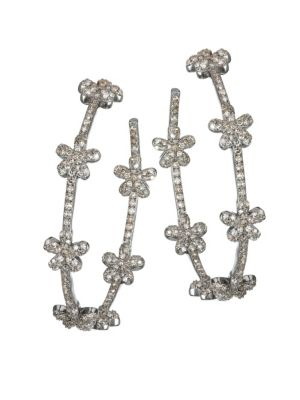 NINA GILIN Diamond Flower Hoop Earrings in Silver