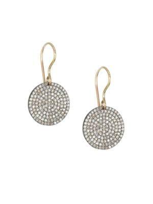 NINA GILIN 14K Gold & Diamond Circle Drop Earrings