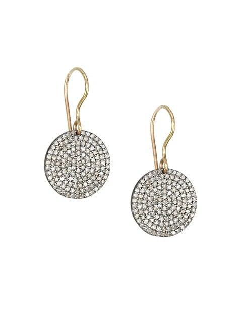 14K Gold & Diamond Circle Drop Earrings