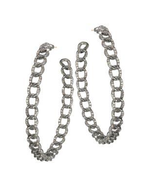 NINA GILIN Diamond Hoop Earrings in Silver