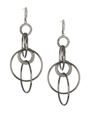 NINA GILIN Diamond Tiered Hoop Drop Earrings in Silver