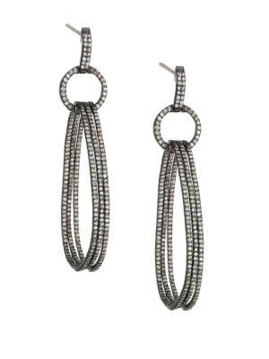 NINA GILIN Diamond Linked Hoop Drop Earrings in Silver
