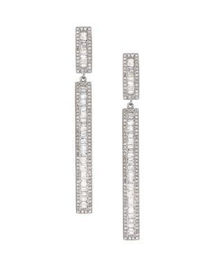 NINA GILIN Diamond Double Bar Drop Earrings in Silver