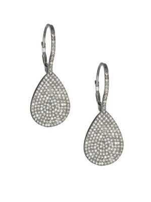 NINA GILIN Diamond Teardrop Earrings in Silver