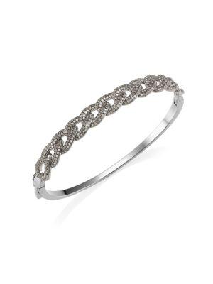 NINA GILIN Diamond Interlocking Link Bangle in Silver