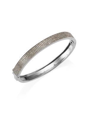 NINA GILIN Diamond Pavé Bangle in Silver