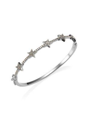 NINA GILIN Star Diamond Bangle in Silver