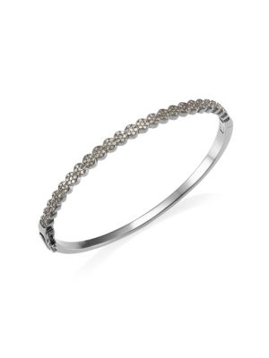 NINA GILIN Diamond Circle Bangle in Silver