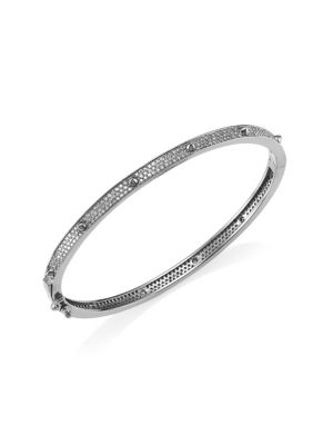 NINA GILIN Diamond Pavé Stud Bangle in Silver
