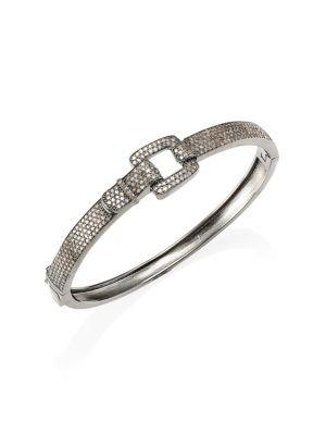NINA GILIN Diamond Hinged Bangle in Silver