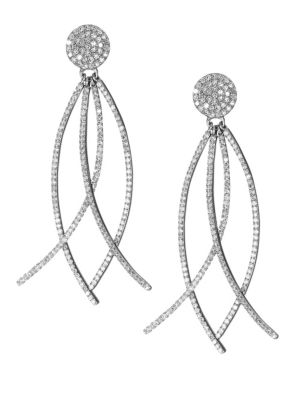 NINA GILIN Diamond Arc Drop Earrings in Silver