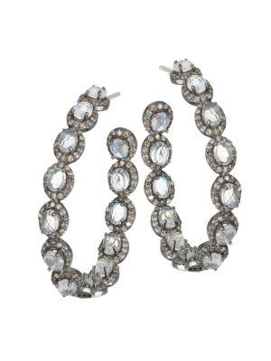 NINA GILIN Moonstone & Diamond Hoop Earrings in Silver