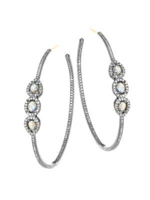 NINA GILIN Labradorite & Diamond Hoop Earrings in Silver