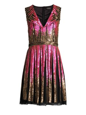 AIDAN MATTOX Striped Beaded V-Neck Cocktail Dress in Pink Multi