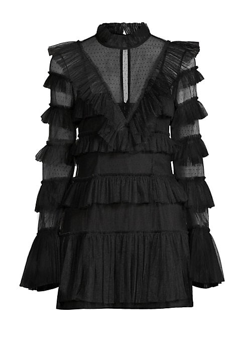 Image of A statement long-sleeve mini dress styled with mesh cutouts and allover tiered ruffles. Ruffled high roundneck. Long sleeves. Flare cuffs. Back keyhole closure. Concealed back zip. Polka-dot printed. Lined. Nylon. Hand wash. Imported. SIZE & FIT. About 34