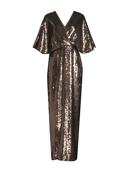 """Image of Allover sequins add elegance to effortless evening gown. Surplice V-neck. Three-quarter length sleeves. Concealed back zip. Seamed blouson waist. Column skirt. Nylon. Dry clean. Imported. SIZE & FIT. About 51"""" from shoulder to hem. Model shown is 5'10"""" (1"""