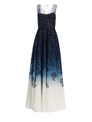 AHLUWALIA Evora Embellished Ombré Gown in Midnight