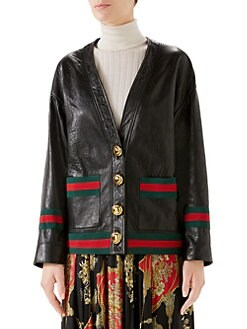 9f597f0fabb9 Gucci. Leather Web Cardigan Jacket