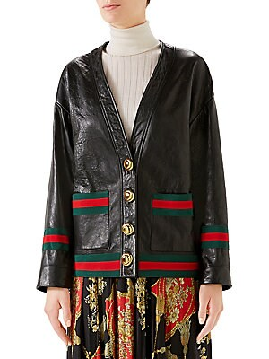 2a03c5365 Gucci - Leather Web Cardigan Jacket - saks.com