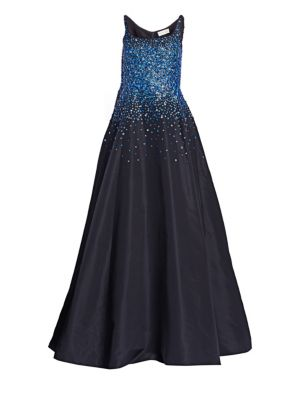 AHLUWALIA Lefaye Ballerina Embroidered Gown in Midnight