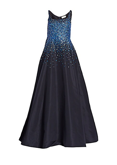 Image of A tank neckline is an athletic touch on this full-skirted silk gown. Flower-shaped sequins spill out from the bodice, lending the gown a playful air. Scoopneck. Thick straps. Concealed back zip closure. Front slit. Pooled hems. Lined. Silk. Dry clean. Imp