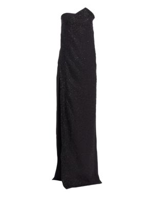 AHLUWALIA Chalet Strapless High Slit Gown in Jet Black