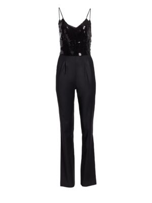 CAROLINA RITZLER Sequin Bodice Spaghetti Strap Jumpsuit in Black