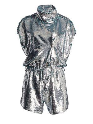 CAROLINA RITZLER Short Sleeve Sequin Romper in Silver Sequins