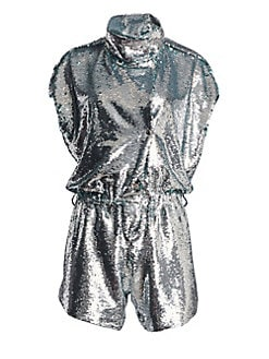 6c07cf7d17ba Carolina Ritzler. Short Sleeve Sequin Romper