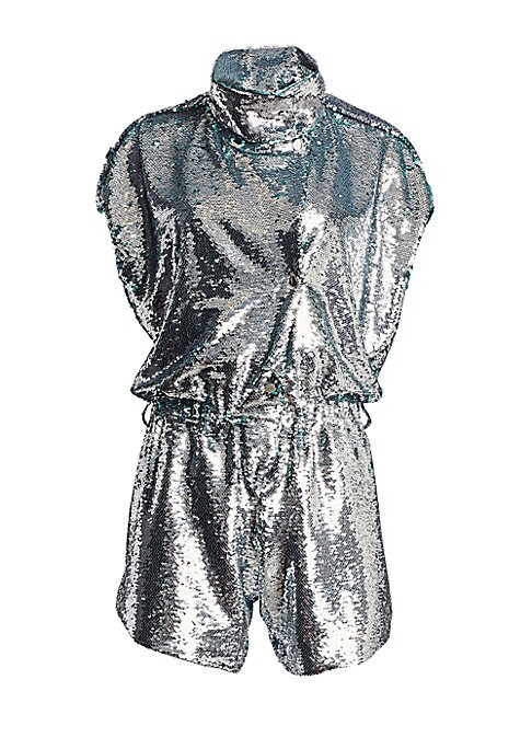 Image of From the Saks It List: The Jumpsuit. Shine in this dazzling romper with allover sequins. Made in France, this statement piece features eye-catching snaps with dramatic high neck and figure-flattering cinched waist. Stand collar. Short sleeves. Snap button