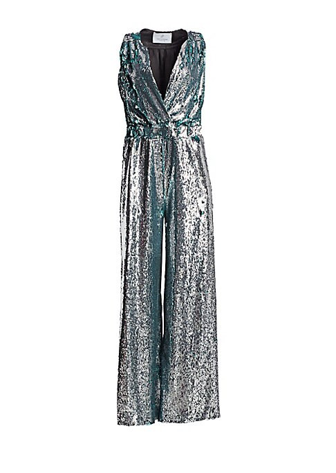 Image of From the Saks It List: The Jumpsuit. Shine in this dazzling romper with allover sequins. Made in France, this statement piece features an eye-catching V-neck design with figure-flattering wide leg silhouette. Spliced V-neck. Sleeveless. Elasticized waist.