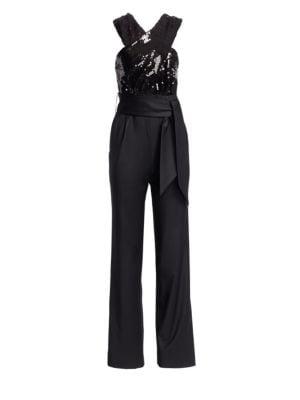 CAROLINA RITZLER Crossover Sequin Belted Jumpsuit in Black