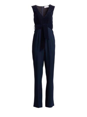CAROLINA RITZLER Velvet Top Sleeveless V-Neck Jumpsuit in Navy