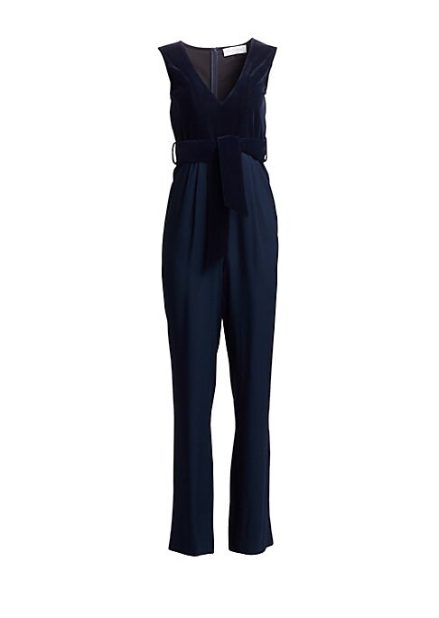 Image of This jumpsuit shows off shoulders and decolletage with an alluring fitted velvet bodice and belted waist. Made in France, this statement piece also features straight-leg pants in flowing crepe.V-neck. Sleeveless. Concealed back zip closure. Belt loops. Se