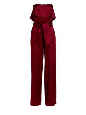 CAROLINA RITZLER Julie Strapless Popover Jumpsuit in Bordeaux