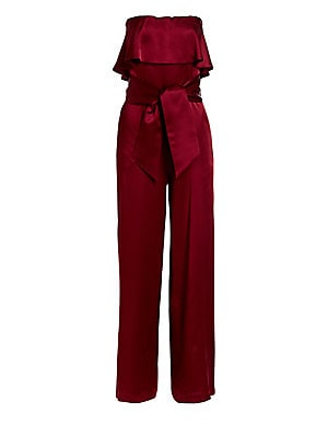 "Image of A flounced bodice and tie-belt detail adds feminine flare to this satin jumpsuit finished with a chic strapless design. Strapless neck Concealed back zip Self-tie waist Side pockets Viscose Dry clean Made in France SIZE & FIT About 53"" from shoulder to he"