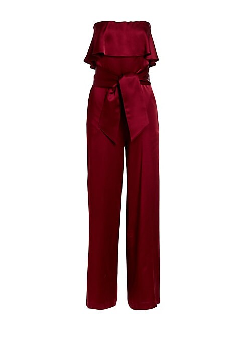 """Image of A flounced bodice and tie-belt detail adds feminine flare to this satin jumpsuit finished with a chic strapless design. Strapless neck. Concealed back zip. Self-tie waist. Side pockets. Viscose. Dry clean. Made in France. SIZE & FIT. About 53"""" from should"""