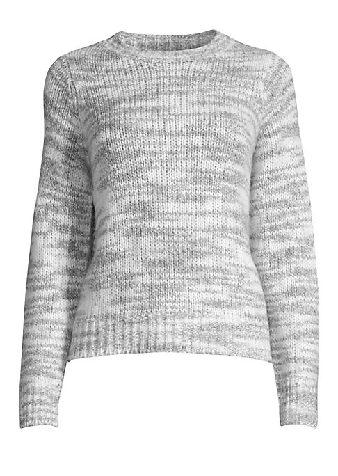 """Image of Opulent melange wool knit sweater with ribbed detailing. Roundneck. Long sleeves. Pullover style. Merino wool/silk. Hand wash. Imported. SIZE & FIT. About 23"""" from shoulder to hem. Model shown is 5'10"""" (177cm) wearing US size Small."""