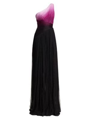 PAMELLA ROLAND One-Shoulder Ombre Chiffon Gown in Purple Black